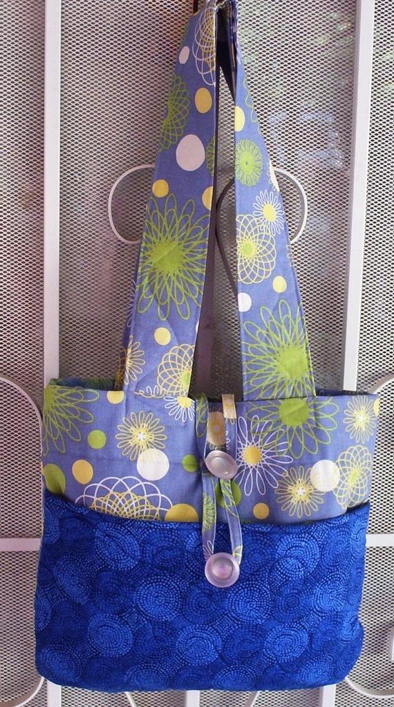 Shoulder Bag Blue Fabric Handbag Home