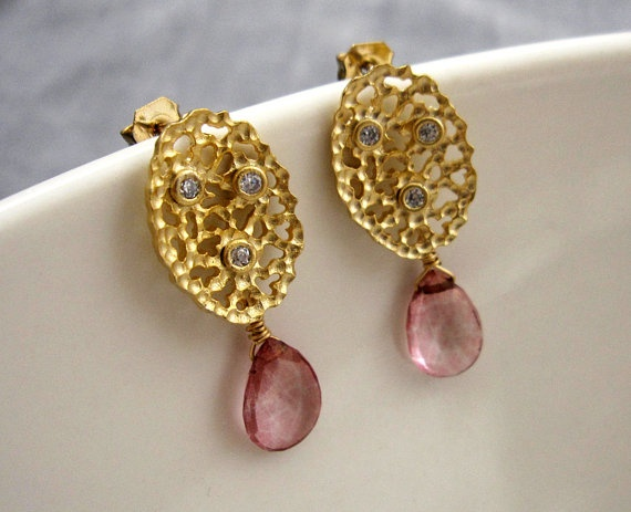 EVA coral earrings with pink quartz by VerseLuxe