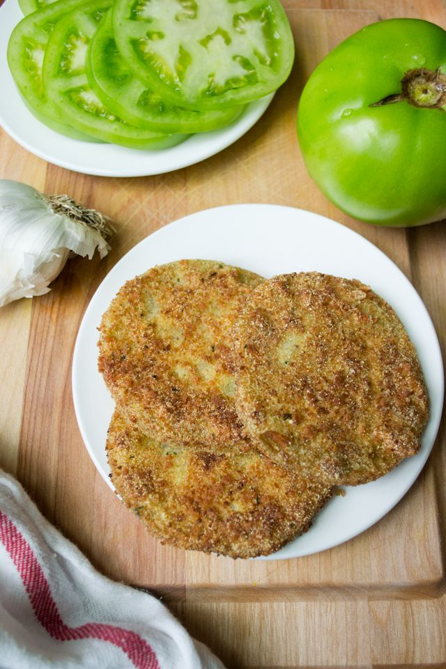 Garlic-Parmesan Fried Green Tomatoes from A Dash of Soul