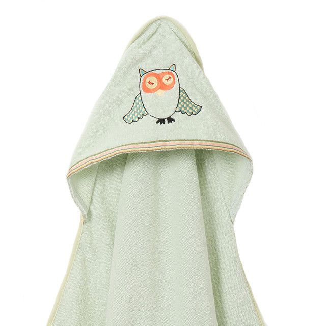 Organic Owl Bath Towel - Made from organic, soft cotton this pale green towel makes a terrific #babygift! #PNshop