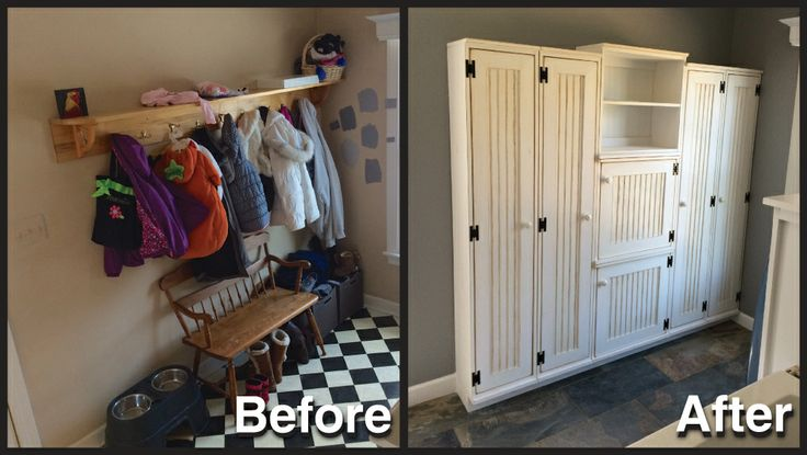 """Our contractors installed the lockers today and I wanted to share a photo.   We LOVE LOVE LOVE them!    I've also attached a """"before"""" photo, so you can see how amazing this new organization system will be for our mudroom!"""