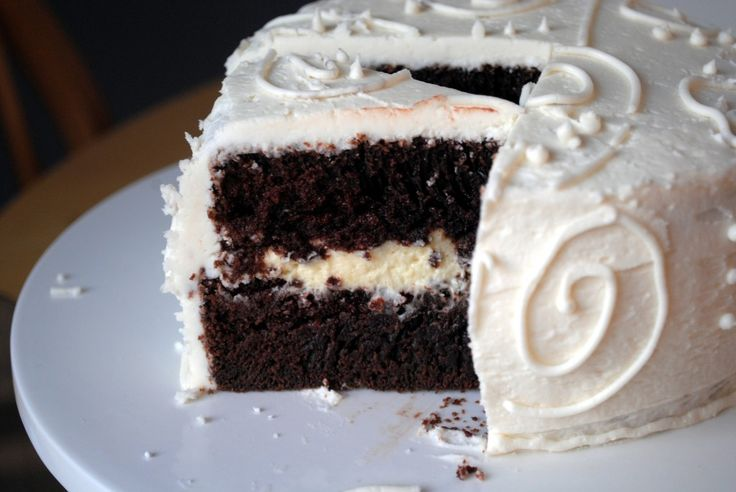 Chocolate Layer Cake with Bavarian Cream Filling and Vanilla ...