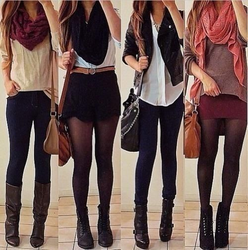 Fall fashion wardrobe- boots  scarves. For MORE fall looks FOLLOW http://www.pinterest.com/happygolicky/fall-fashion-best-fall-trends-fall-fashion-jewelry/