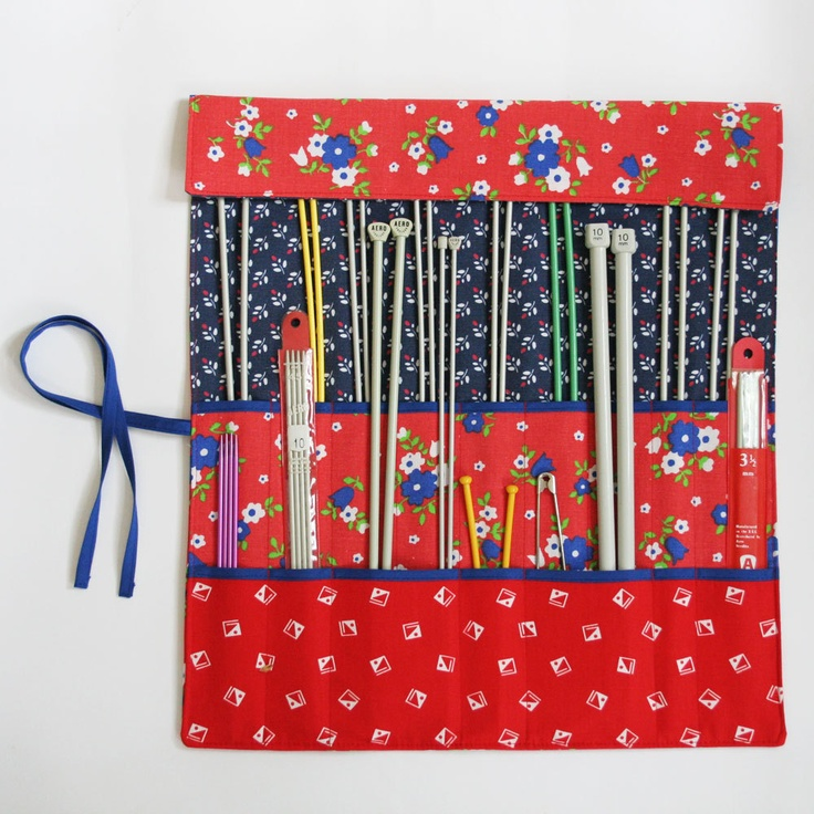 Knitting Needle Roll, Knitting Needle Organizer, Knitting Needle Case, Retro Red by Knotted Nest on Etsy. via Etsy.