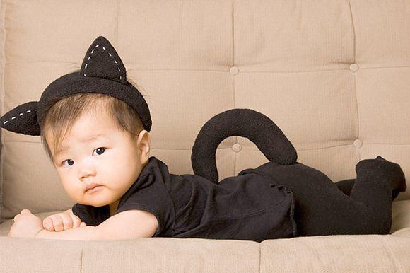 Disfraces para bebés. Disfraz casero de gato.