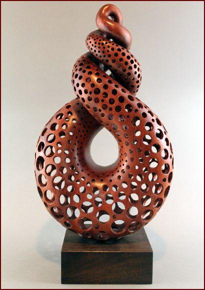 "Wood, Nairi Safaryan, Artist, Unity, 2011, bloodwood, painted mahogany base, 17""h x 9""w X 5.25""d"