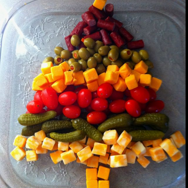 Appetizer tray christmas tree food cute creative - Christmas tree shaped appetizers ...