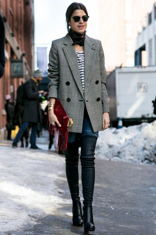 winter outfit - the man repeller in a menswear blazer, knotted silk scarf, stripe shirt + leather pants