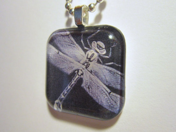 Black and White Dragonfly Glass Tile Pendant and by SixAndEight, $9.00