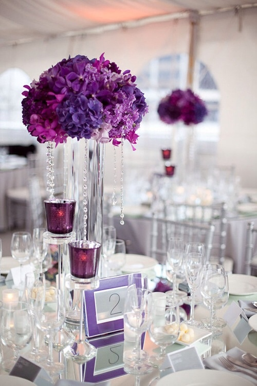 Purple tall centerpiece with jewels modern asian glamor