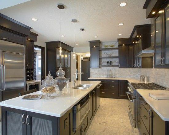 light tile transition to dark floor dark cabinets design pictures