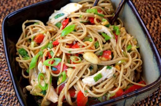 Asian Chicken Noodle Salad with Ginger Peanut Dressing