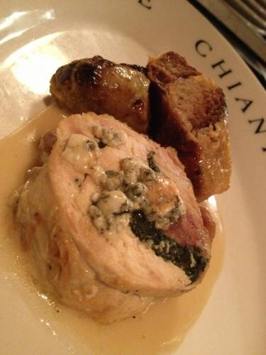 Chicken galantine filled with spinach and smoked Gorgonzola, savoy ...