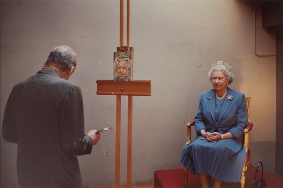 Lucian Freud painting the Queen by David Dawson. Government Art Collection.