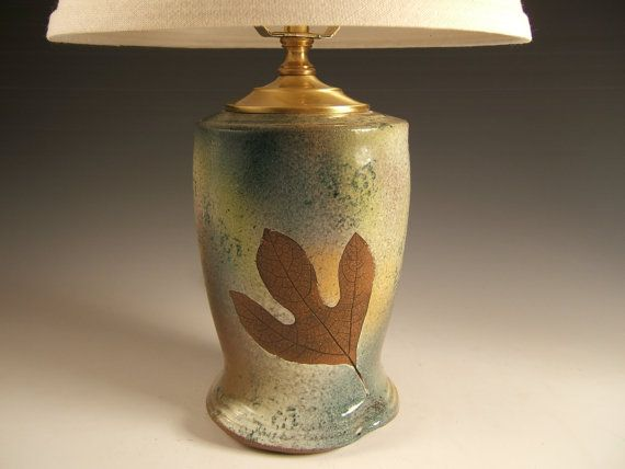 Green ceramic table lamp with shade in green leaf glaze available by