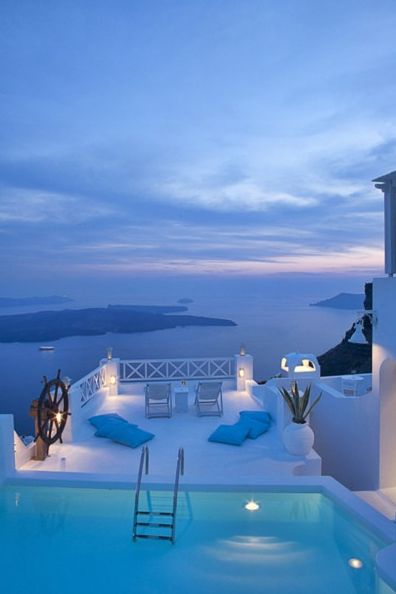 Somewhere in Santorini, Greece:) Beautiful. Imagine swimming in that pool with this view.....heaven:)