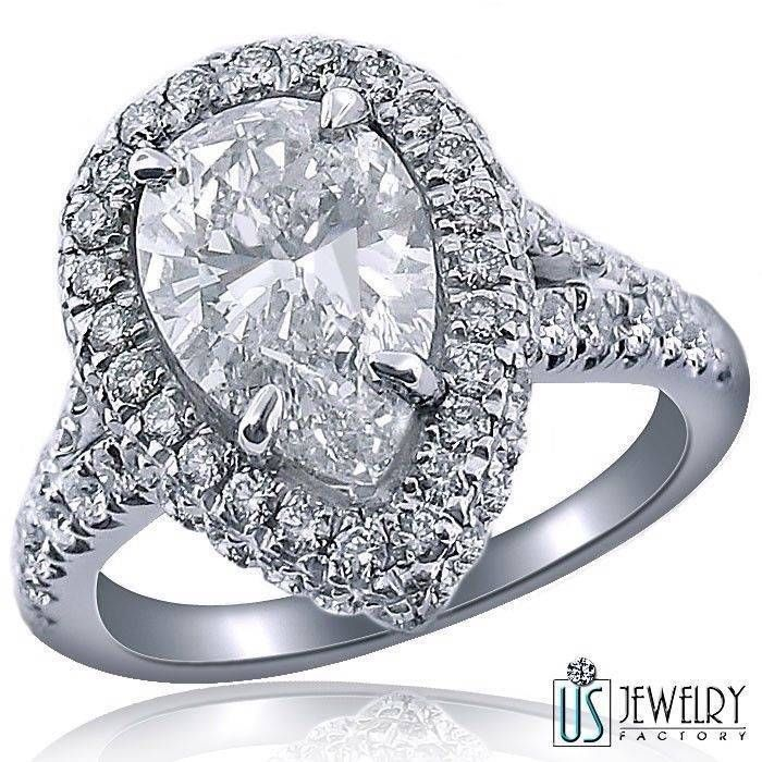 3 21 Carat 100% Natural Pear Diamond Engagement Ring Split Shank 18k