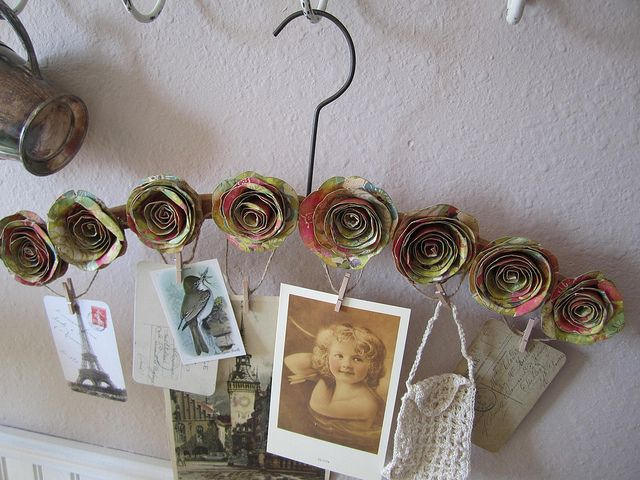 Paper Flowers on Vintage Hanger by littlethings1, via Flickr
