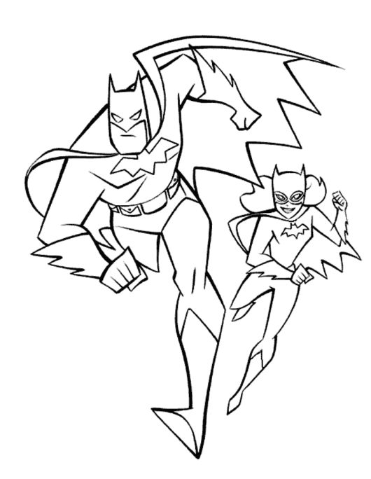batman and batgirl coloring page kids super heroes