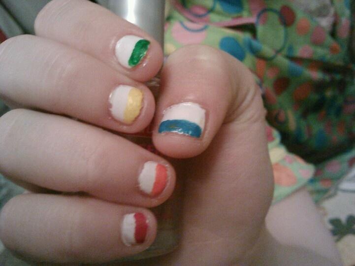 Little Girls Rainbow Tip Nails Nail Design For Girls Pinterest