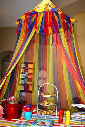 Big Top - looks like hula hoop, fabric, and gauzey ribbons...great for preschool rooms!