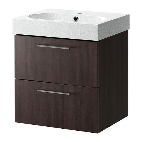 Ikea Kitchen Island Support ~ GODMORGON BRÅVIKEN Sink cabinet with 2 drawers, black brown, light gr