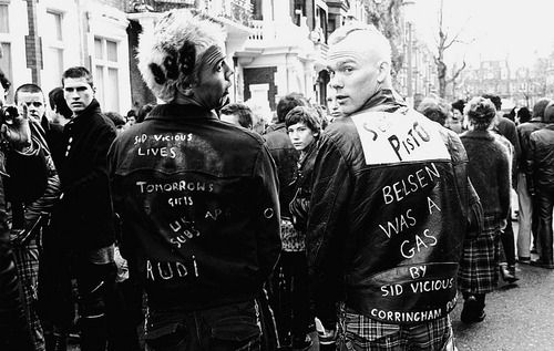 Punks at Sid Vicious memorial march, London 1979. Photo by Janette Beckman