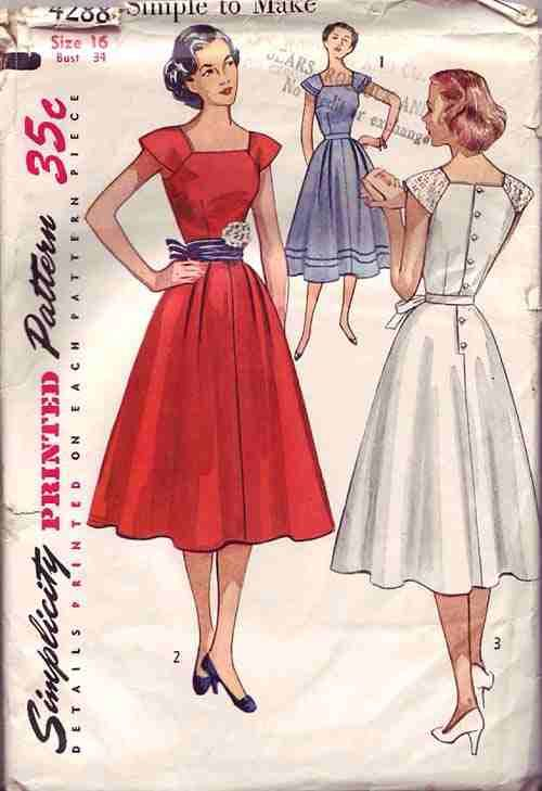 Sewing pattern 1940s or 1950s women s dress simplicity 4288 size