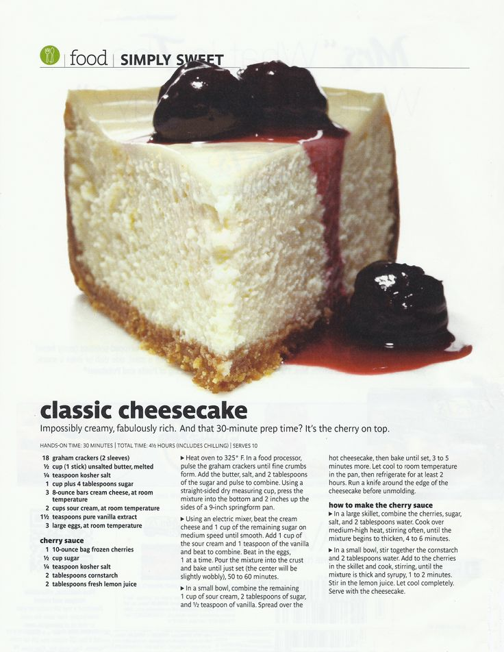 Classic Cheesecake with Sour Cream topping. 30 minute Prep time. http ...