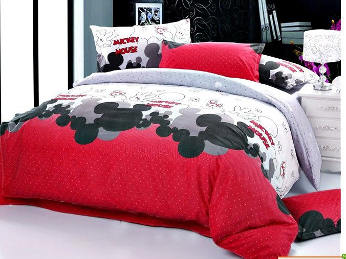 Black white red gray cartoon mickey mouse flower cotton queen size