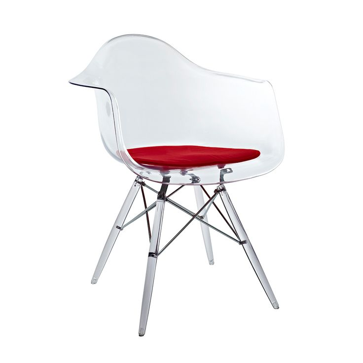 its little red seat clear acrylic molded arm chair