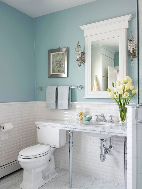 White subway tile + marble + pale  blue walls = stunning