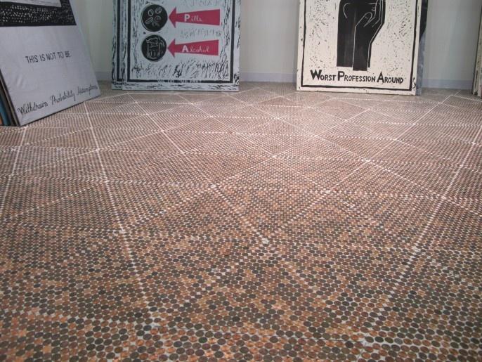 Penny floor floors and walls pinterest for Floor of pennies