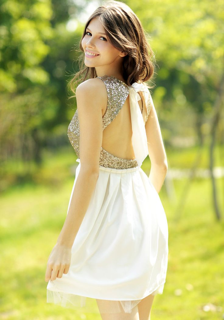 Gold Sequins Open Back Dress