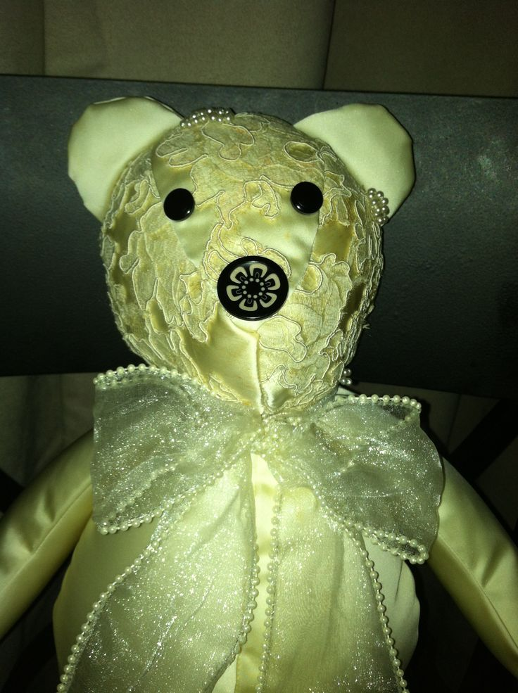 Another wedding gown memory bear  memorybearsbytricia