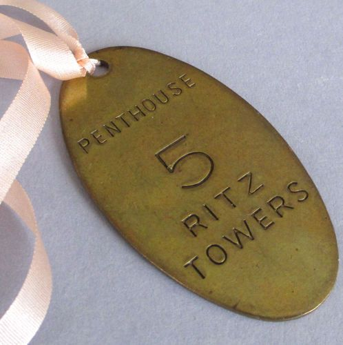 Vintage ritz towers hotel brass room key fob penthouse 5 key ch - Vintage hotel key rack ...