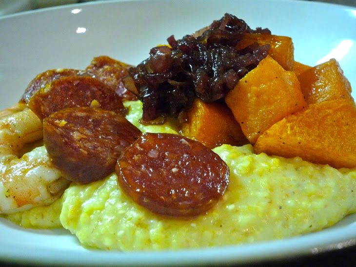 Spiced Butternut Squash With Polenta, Shrimp & Chorizo Recipe