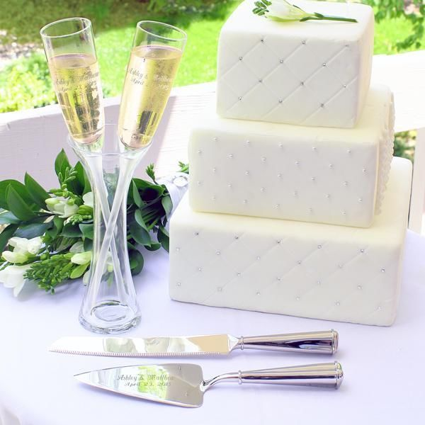 Engraved Wedding Cake Serving Set Personalized Champagne Flutes In A