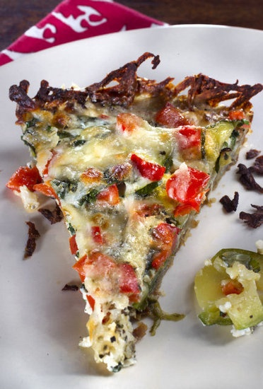 Potato Crusted Quiche uses shredded potatoes to replace a traditional ...