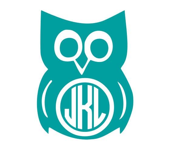 Owl Circle Monogram Vinyl Decal by KatieBuggaDesigns on Etsy, $5.00 #Owl #CircleMonogram #VinylDecal #katiebuggadesigns