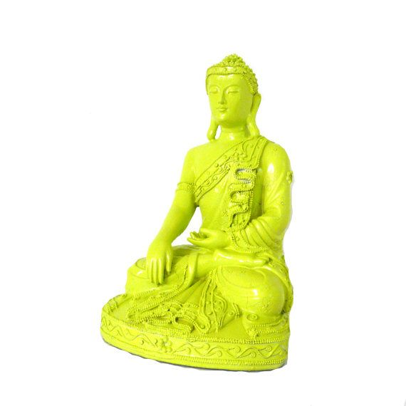 Buddha statue neon lime green home decor buddhist for Lime green home decorations