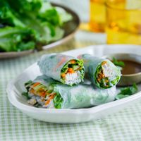 Healthy Chicken Breast Spring Rolls with Garlic Soy Dip (The dipping ...