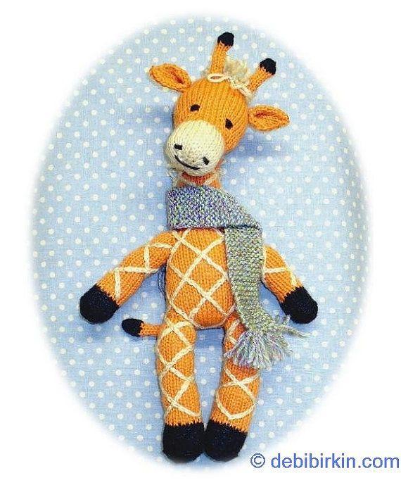 Knitting Pattern Toy Giraffe : knitted giraffe PDF email toy knitting pattern