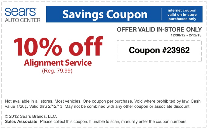 picture relating to Sears Coupons Printable titled Sears vehicle centre coupon codes 2018 : Keyboard bargains reddit