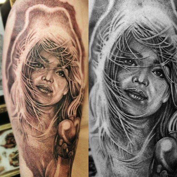 Hair girl tattoo arm.
