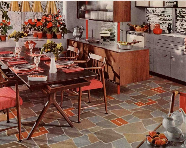 Painted slate floor for 60s kitchen cabinets