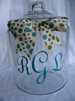 personalized cookie jar. Great gift! Include supplies for cooking making and a recipe