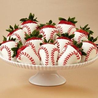 Baseball Dipped Strawberries Yes!! | yummy | Pinterest