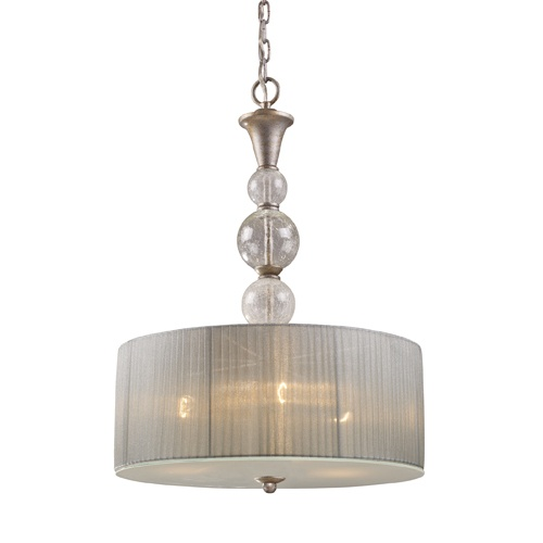 zoomed westmore lighting 18 antique silver pendant light with fabric. Black Bedroom Furniture Sets. Home Design Ideas