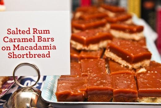 Salted Rum Caramel Bars with Macadamia Shortbread